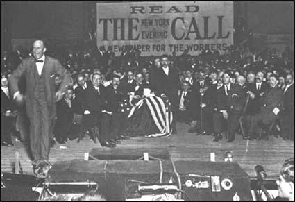 Eugene Debs speaking at a meeting organised by The Call
