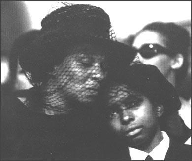 James Earl Chaney's mother, Fannie Chaney and brother Ben at his funeral.