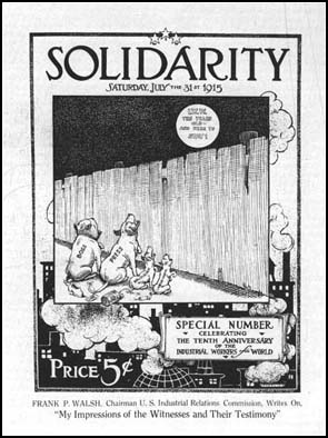 Front cover of Solidarity drawn byRalph Chaplin (31st July, 1915)
