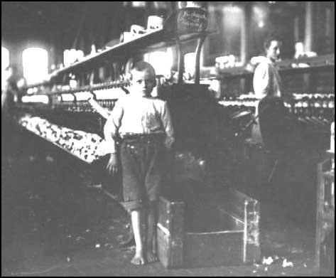 Lewis Hine took this picture of Leo, aged eightyears old, working in a textile factory in Tennessee, in 1910.