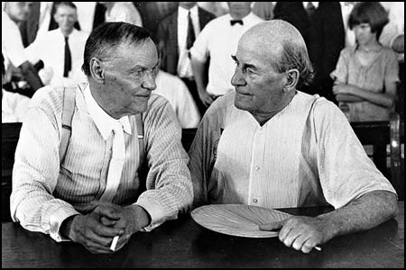 Clarence Darrow and William Jennings Bryan at the Scopes Trial in 1925