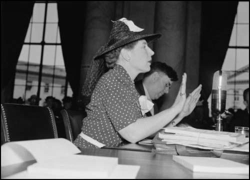 Dorothy Detzer testifying before a Senate Committee in 1939