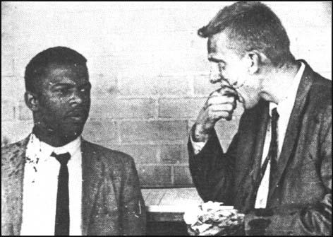 John Lewis and James Zwerg, two Freedom Ridersbeaten up by a white mob in Montgomery, Alabama.