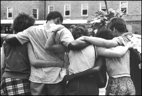 A group of student volunteers waiting for buses to take them to Mississippi (1964)