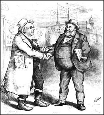 Thomas Nast linked Horace Greeley with the corruptpolitician, Robert Tweed, during the presidentialcampaign. (Harper's Weekly, 3rd October, 1872)