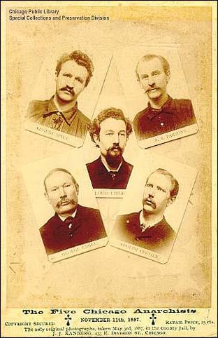 Photographs taken on 3rd May, 1887. August Spies, Albert Parsons, Louis Lingg (centre), George Engel and Adolph Fisher.