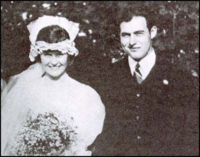 Hadley Richardson and Ernest Hemingway on their wedding day.
