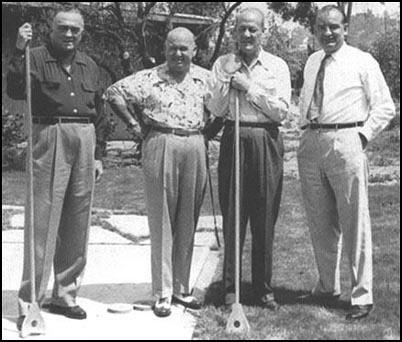 J. Edgar Hoover, Royal Miller, Clyde Tolson and Joseph McCarthy on holiday in California.