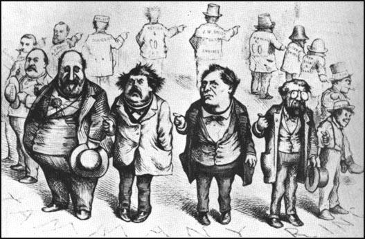 Thomas Nast, Who Stole the People's Money? Cartoon showingWilliam Tweed, Peter Sweeney, Richard Connolly and OakleyHall that appeared in Harper's Weekly (19th August, 1871)
