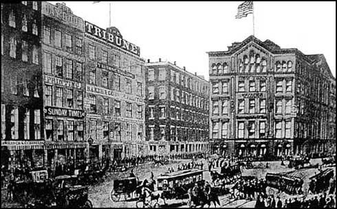 Printing House Square, New York Times is onthe right and the Tribune is in the centre (1865)
