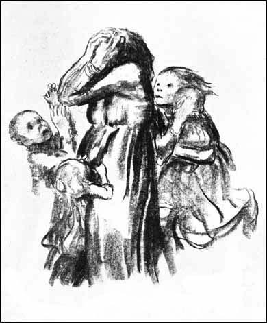Kathe Kollwitz was a pacifist who lost a son and grandson in the two European wars. Kollwitz produced Killed in Action in 1921.