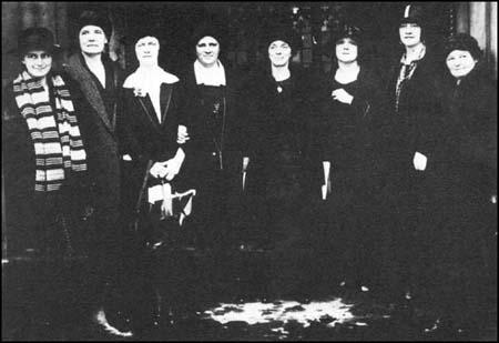 Woman MPs in October 1924. Left to right, Dorothy Jewson, Susan Lawrence,Nancy Astor, Margaret Winteringham, Katharine Stewart-Murray, Mabel Philipson,Vera Terrington and Margaret Bondfield.