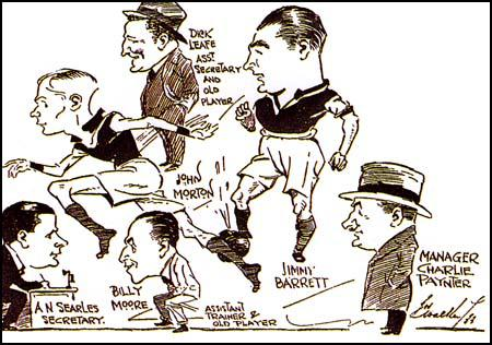 A cartoon produced in 1933 that shows Jim Barrett, Charlie Paynter,John Morton, Billy Moore and Richard Leafe.