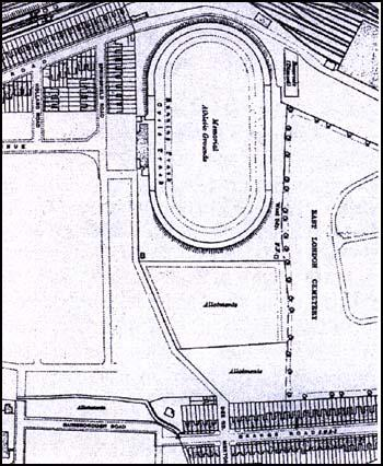Early map showing the location of the Memorial Grounds
