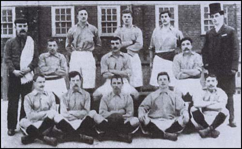 Thames Ironworks in 1897. The back three are George Neil, David Furnell and Walter Tranter.In the front row is Jimmy Reid (second from left) and George Gresham (second from right).