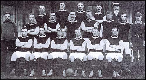 West Ham United in 1904-05: Back row (left to right): Herbert Bamlett, Aubrey Fair,Matt Kingsley, David Gardner, Syd King (manager): Middle row: Tom Robinson (trainer),Fred Brunton, Tommy Allison, Frank Piercy, John Russell, Len Jarvis, Fred Mercer,Charlie Paynter (assistant trainer). Front row: William McCartney, Charlie Simmons,Billy Bridgeman, Jack Fletcher, Christopher Carrick, Jack Flynn.
