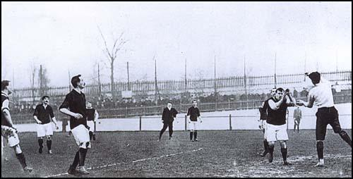West Ham forwards attack the Plymouth Argyle goal in January, 1904.