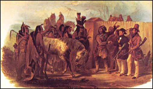 Karl Bodmer (extreme right) meeting the Minnetaree (1833)