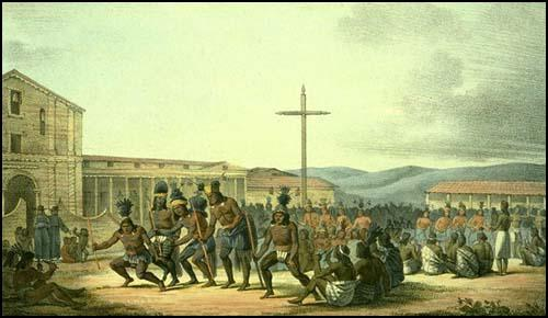 Natives Dancing at Mission Dolores by Louis Choris (1816)