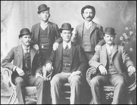 Left to right: Henry Longbaugh (Sundance Kid), William Carver,Ben Kilpatrick, Henry Logan and Robert Parker (Butch Cassidy)