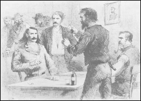 Wild Bill Hickok and Dave Tutt before their gunfight,Harper's New Monthly Magazine (February, 1867)