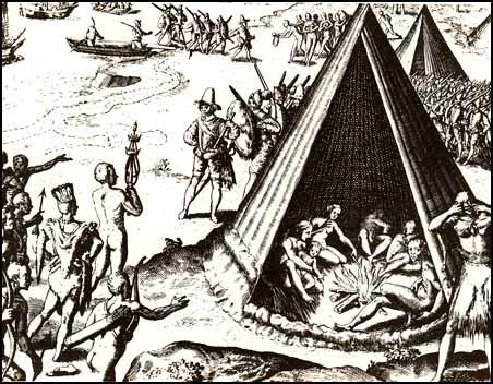 Illustration of Drake's arrival in California appeared in Historia Americae (1599)
