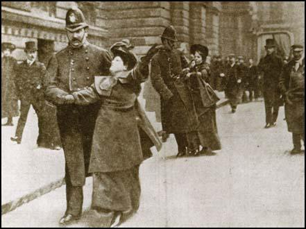 Flora Drummond and Annie Kenney being arrested on 9th March, 1906