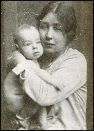 Sylvia Pankhurst with her son Richard in 1928.