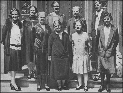 Nine victorious members of the Labour Party at the 1929 General Election: Left to right, Cynthia Mosley, Marion Phillips, Susan Lawrence, Edith Picton-Turberville, Margaret Bondfield, Ethel Bentham, Ellen Wilkinson, Mary Hamilton and Jennie Lee.