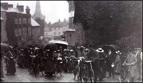 Cyclists in Cuckfield on the NUWSS Pilgrimage on 22nd July 1913.