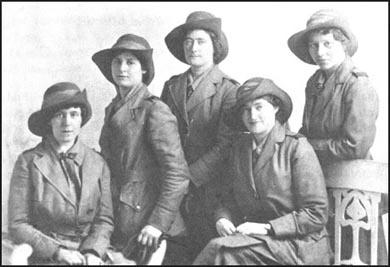 Five members of the Scottish Women's Hospital Unitin Serbia. Ishbel Ross is the second from the right.