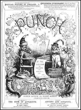Punch front cover that first appeared in January1849. The cover was designed by Richard Doyle